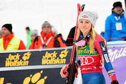 January 7, 2018 - Kranjska Gora, Gorenjska, Slovenia - Mikaela Shiffrin of United States of America on podium celebrating her victory of Golden Fox Trophy at the Slalom race at the 54th Golden Fox FIS World Cup in Kranjska Gora, Slovenia on January 7, 2018. (Credit Image: © Rok Rakun/Pacific Press via ZUMA Wire)