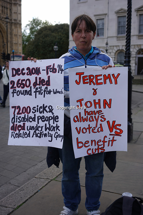 Westminster,London,England,UK. 2nd May 2017. Westminster,London,England,UK. 2nd May 2017. Disability people against cuts rally outside Conservative Party Headquarters and ask people to vote against the Conservatives in the general election in June (May is out). by See Li