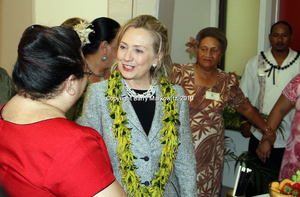 US Sec of State Hillary Cllinton visits ASG staffers before saying her goodbye's to the VIP's at the Governor's Lounge, Tafuna Intl Airport, Tafuna, American Samoa.  Photo by Barry Markowitz, 11/8/10