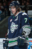 KELOWNA, CANADA -FEBRUARY 10: Mitch Elliot #7 of the Seattle Thunderbirds stands on the ice against the Kelowna Rockets on February 10, 2014 at Prospera Place in Kelowna, British Columbia, Canada.   (Photo by Marissa Baecker/Getty Images)  *** Local Caption *** Mitch Elliot;