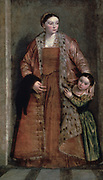 Lucia Thiene and her Daughter, Porzia.  Oil on canvas. Paolo Veronese (1528-1588) Italian Renaissance painter. Woman in rusty pink dress and surcoat trimmed with fur has her arm round the shoulders of little girl in green.  Parent Mother Child