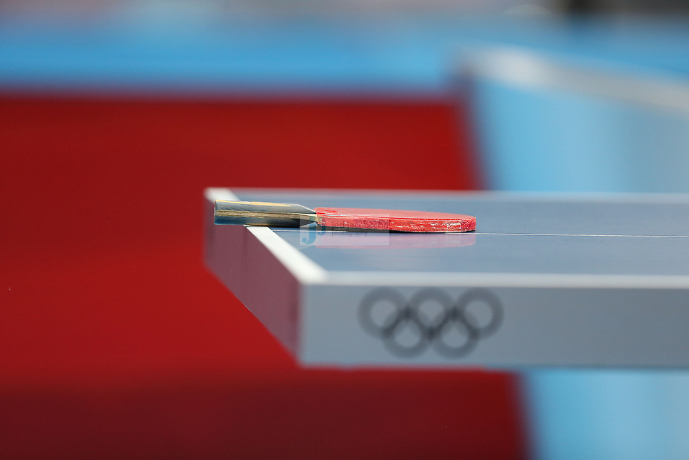 A detail of the paddle and table used during a table tennis match at the Olympic Games in London, England, United Kingdom, on 29 Jul 2012..(Jed Jacobsohn/for The New York Times)....