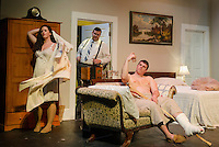 """Maggie (Jamie M. Clavet), Cooper (Connor D'Heilly) and Brick (David T. Bleiler) get ready for Big Daddy's party during their dress rehearsal scene for """"Cat On a Hot Tin Roof"""" with the Winnipesaukee Playhouse on Tuesday evening.  (Karen Bobotas/for the Laconia Daily Sun)"""
