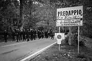 A march from the center of the city to the cemetary where Benito Mussolini si burried. About 2000 fascists gathered in Predappio, Italy to commemorate the annivrsary of the 'Marcia su Roma' A march held on October 28th 1922 and marked the start of the Italian fascist era .Federico Scoppa