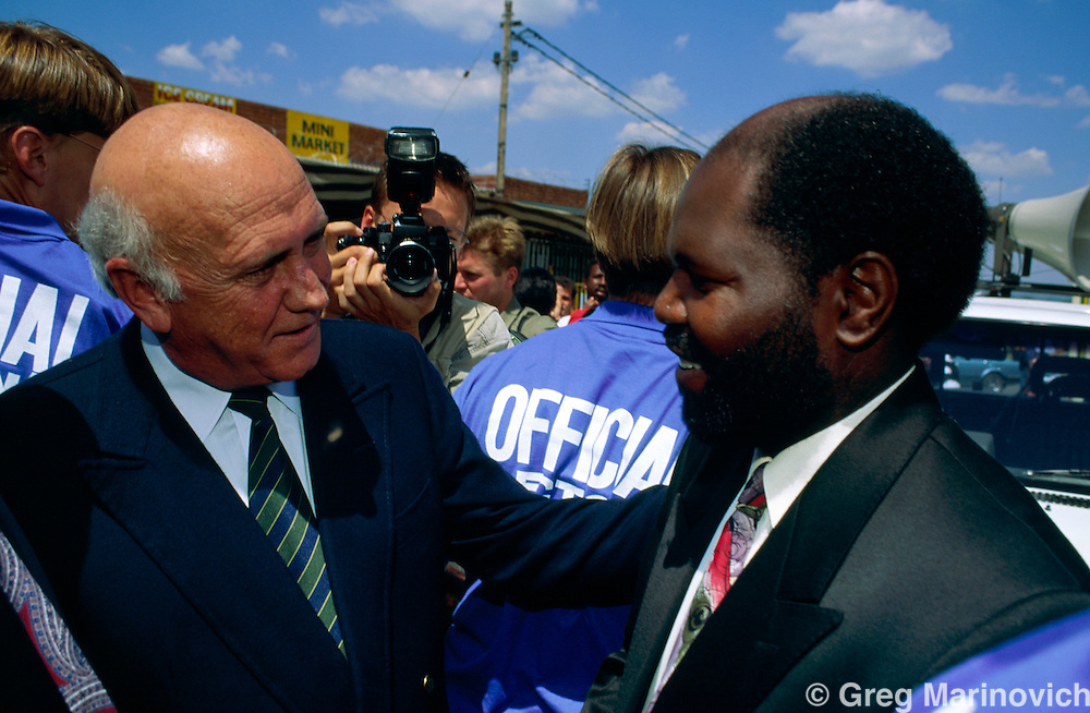 South African President and Nationalist party leader F.W. de Klerk pre election rally in Soweto, 1994.
