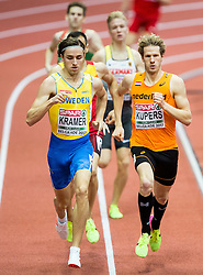 Andreas Kramer of Sweden and Thijmen Kupers of Netherlands compete in the Men's 800 metres heats on day one of the 2017 European Athletics Indoor Championships at the Kombank Arena on March 3, 2017 in Belgrade, Serbia. Photo by Vid Ponikvar / Sportida