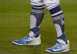 April 14, 2017 - Los Angeles, California, U.S. - Los Angeles Dodgers' Joc Pederson in the second inning of a Major League baseball game against the Arizona Diamondbacks at Dodger Stadium on Friday, April 14, 2017 in Los Angeles. (Photo by Keith Birmingham, Pasadena Star-News/SCNG) (Credit Image: © San Gabriel Valley Tribune via ZUMA Wire)
