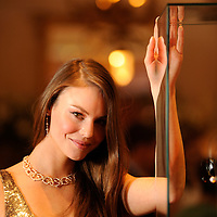 Model Lauren Tempany shows off a £100,000 Christmas Day Gift from Edinburgh Jeweller Hamilton & Inches.  She is wearing a £61,750 18ct Gold and pave set Diamond Poison Ivy twistvine collar designed by celebrity designer Stephen Webster, £1379 Deco gold sequinned gown by Jenny Packham and Diamond earrings and bracelets.