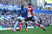 Everton midfielder Yannick Bolasie (7) and Southampton defender Wesley Hoedt (6)  during the Premier League match between Everton and Southampton at Goodison Park, Liverpool, England on 5 May 2018. Picture by Craig Galloway.
