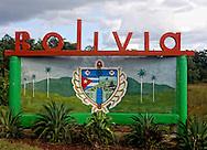 Town sign in Bolivia, Ciego de Avila Province, Cuba.
