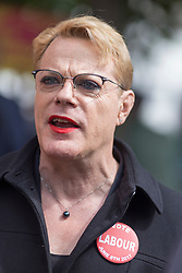 &copy; Licensed to London News Pictures. 1/6/2017 FRODSHAM , CHESHIRE  , UK.  <br /> <br /> Stand-up comedian and actor Eddie Izzard joins Labour Party candidates on the campaign trail today (Thursday 1st June 2017) Pictured on Frodsham Main Street, Frodsham, Cheshire to support Mike Amesbury. Recent polls have shown a narrowing in the gap between Labour and the Conservatives in the run up to the 2017 General Election.<br /> <br /> Photo credit: CHRIS BULL/LNP