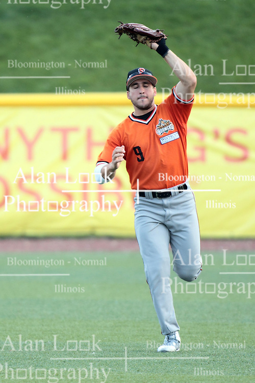 09 July 2015: <br /> Kyle Ruchim pulls in a well hit ball to right field. Pete Rose night during a Frontier League Baseball game between the Schaumburg Boomers and the Normal CornBelters at Corn Crib Stadium on the campus of Heartland Community College in Normal Illinois