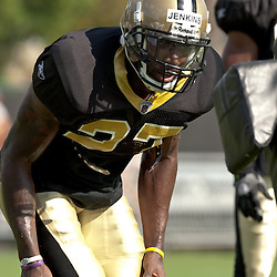 10 August 2009: New Orleans Saints rookie cornerback Malcolm Jenkins (27) works on a sled drill during New Orleans Saints training camp at the team's practice facility in Metairie, Louisiana.