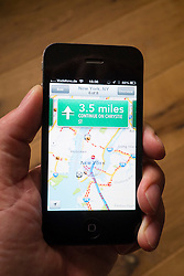 Car navigation with turn-by-turn directions on the new Apple Maps application.  Apple's new Maps application has been criticised by users for providing inaccurate locations of some destinations. The App was bundled with the new iOS6.0 operating system and replaces Google maps.