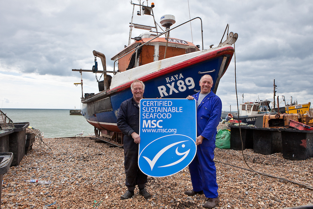 Graham Coglan & Paul Joy, both fishermen in Hastings. They follow the Marine Stewardship Council (MSC) code of fishing. fishermen in Hastings. the both follow the Marine Stewardship Council (MSC) code of fishing for certified sustainable seafood.