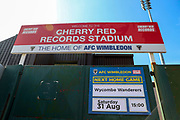 Kingsmeadow/ Cherry Red Records Stadium during the EFL Sky Bet League 1 match between AFC Wimbledon and Wycombe Wanderers at the Cherry Red Records Stadium, Kingston, England on 31 August 2019.