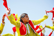 Esha Dalsania, 9, dances during the First Annual Multicultural Festival at Pomeroy Elementary School in Milpitas, California, on April 27, 2013. (Stan Olszewski/SOSKIphoto)
