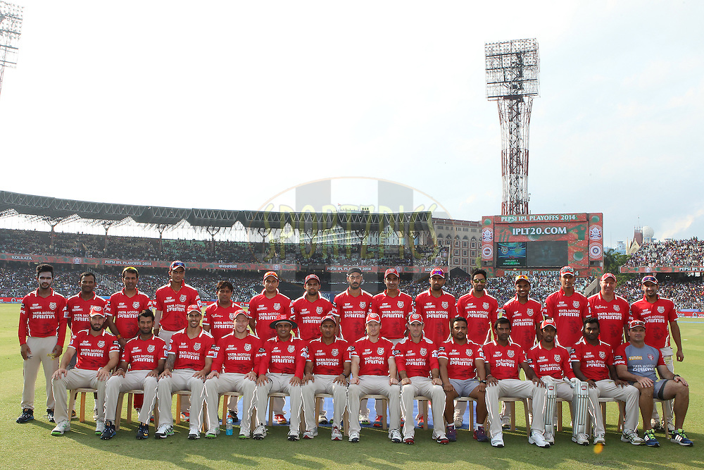 Kings Xi Punjab squad photo during the first qualifier match (QF1) of the Pepsi Indian Premier League Season 2014 between the Kings XI Punjab and the Kolkata Knight Riders held at the Eden Gardens Cricket Stadium, Kolkata, India on the 28th May  2014<br /> <br /> Photo by Ron Gaunt / IPL / SPORTZPICS<br /> <br /> <br /> <br /> Image use subject to terms and conditions which can be found here:  http://sportzpics.photoshelter.com/gallery/Pepsi-IPL-Image-terms-and-conditions/G00004VW1IVJ.gB0/C0000TScjhBM6ikg