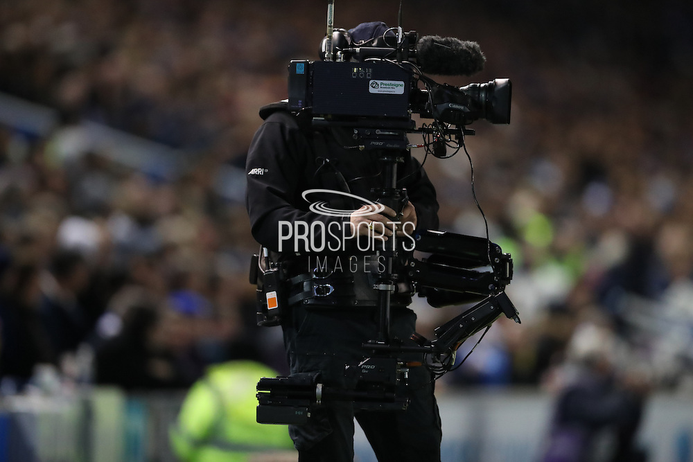 Sky cameraman during the EFL Sky Bet Championship match between Brighton and Hove Albion and Aston Villa at the American Express Community Stadium, Brighton and Hove, England on 18 November 2016.
