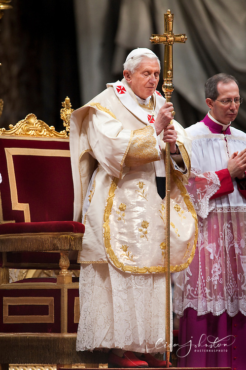 Pope prays while holding his crozier during Mass on the Solemnity of Mary Mother of God.  Pope Benedict XVI.