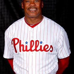 February 22, 2011; Clearwater, FL, USA; Philadelphia Phillies third base coach Juan Samuel (12) poses during photo day at Bright House Networks Field. Mandatory Credit: Derick E. Hingle