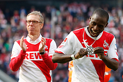 04.05.2014, Rhein-Energie Stadion, Koeln, GER, 2. FBL, 1. FC Koeln vs FC St. Pauli, 33. Runde, im Bild Anthony Ujah (1. FC Koeln #9) mit der Meister-Meidaille und Trainer Peter Stoeger (1. FC Koeln) // during the German 2nd Bundesliga 33th round match between 1. FC Cologne and FC St Pauli at the Rhein-Energie Stadion in Koeln, Germany on 2014/05/04. EXPA Pictures &copy; 2014, PhotoCredit: EXPA/ Eibner-Pressefoto/ Schueler<br /> <br /> *****ATTENTION - OUT of GER*****