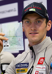 Jakov Fak with new Slovenian passport at press conference of Slovenia Biathlon team before new season 2010 - 2011, on November 24, 2010, in Emporium, BTC, Ljubljana, Slovenia.  (Photo by Vid Ponikvar / Sportida)