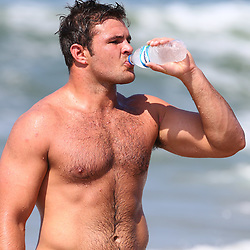 DURBAN, SOUTH AFRICA, December 10. 2015 - Franco Marais during The Cell C Sharks Pre Season Beach South Beach training for the 2016 Super Rugby Season . (Photo by Steve Haag)<br /> images for social media must have consent from Steve Haag