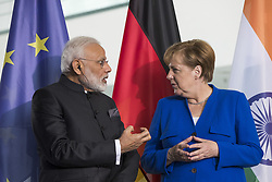 May 30, 2017 - Berlin, Germany - German Chancellor Angela Merkel and Indian Prime Minister Nerendra Modi are pictured during a signing ceremony of agreements between the two governments at the Chancellery in Berlin, Germany on May 30, 2017. (Credit Image: © Emmanuele Contini/NurPhoto via ZUMA Press)