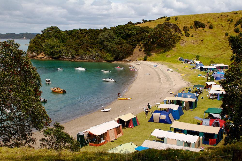 camping at Urupukapuka Island, Bay of Islands