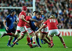 Benjamin Kayser of France is stopped by Evan Olmstead of Canada  - Mandatory byline: Joe Meredith/JMP - 07966386802 - 01/10/2015 - Rugby Union, World Cup - Stadium:MK -Milton Keynes,England - France v Canada - Rugby World Cup 2015
