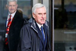 © Licensed to London News Pictures. 05/03/2017. London, UK. Shadow Chancellor JOHN MCDONNELL leaves BBC Broadcasting House in London after appearing on The Andrew Marr show on BBC One on 5 March 2017. Photo credit: Tolga Akmen/LNP