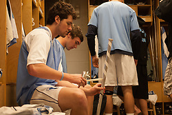 08 March 2008: North Carolina Tar Heels men's lacrosse midfielder Sean Burke (42) works on his stick pregame before playing the Notre Dame Fighting Irish in Chapel Hill, NC.