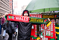 A flag seller outside of the stadium<br /> <br /> Photographer Simon King/Replay Images<br /> <br /> Under Armour Series - Wales v South Africa - Saturday 24th November 2018 - Principality Stadium - Cardiff<br /> <br /> World Copyright &copy; Replay Images . All rights reserved. info@replayimages.co.uk - http://replayimages.co.uk