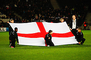 Picture by David Horn/Focus Images Ltd +44 7545 970036<br /> 14/11/2013<br /> An England flag before the European U21 Championship match at stadium:mk, Milton Keynes.