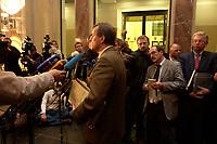 26 NOV 2003, BERLIN/GERMANY:<br /> Wilhelm Schmidt, SPD 1. Parl. Geschaeftsfuehrer, gibt ein Pressestatement, nach der Sitzung des Vermittlungsauschusses zwischen Bundestag und Bundesrat, Rechts: Roland Koch, CDU, Ministerpraesident Hessen, Bundesrat<br /> IMAGE: 20031126-01-014<br /> KEYWORDS: Mikrofon, microphone, Pressekonferenz, Journalist, Journalisten