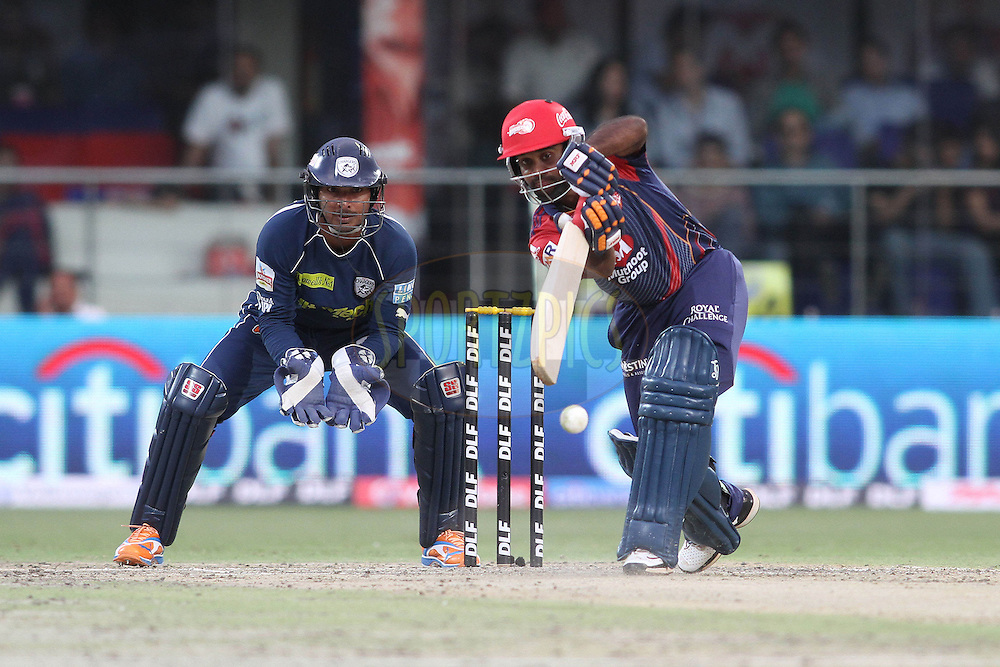 Venugopal Rao of the Delhi Daredevils drives a delivery during match 19 of the Indian Premier League ( IPL ) Season 4 between the Delhi Daredevils and the Deccan Chargers held at the Feroz Shah Kotla Stadium in Delhi, India on the 19th April 2011..Photo by Shaun Roy/BCCI/SPORTZPICS