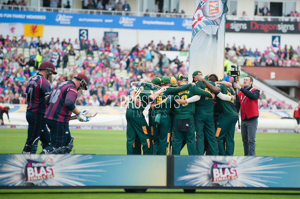 Adam Rossington & Richard Levi of Northants Steelbacks come out to bat as Notts Outlaws huddle during the NatWest T20 Blast Semi Final match between Nottinghamshire County Cricket Club and Northamptonshire County Cricket Club at Edgbaston, Birmingham, United Kingdom on 20 August 2016. Photo by David Vokes.