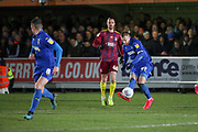 AFC Wimbledon striker Joe Pigott (39) passing the ball to AFC Wimbledon midfielder Anthony Hartigan (8) during the EFL Sky Bet League 1 match between AFC Wimbledon and Ipswich Town at the Cherry Red Records Stadium, Kingston, England on 11 February 2020.