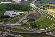 Nederland, Noord-Brabant, Breda, 09-05-2013; Knooppunt Princeville, aansluiting van de autosnelwegen A16 (vlnr) en A58, richting Ettenleur (naar boven).<br /> Junction Princeville, connecting the motorways A16 (left) and A58 near Breda.<br /> luchtfoto (toeslag op standard tarieven);<br /> aerial photo (additional fee required);<br /> copyright foto/photo Siebe Swart.