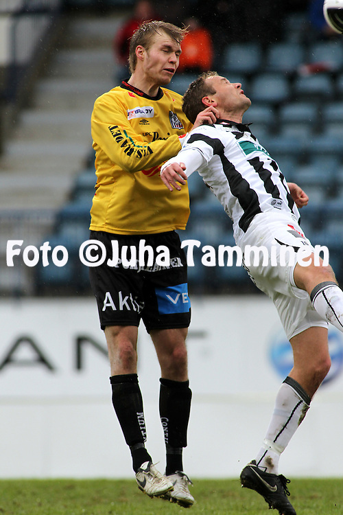 07.05.2010, Kupittaa, Turku..Veikkausliiga 2010, FC TPS Turku - Vaasan Palloseura..Jani Tanska (VPS) v Jonatan Johansson (TPS).©Juha Tamminen.