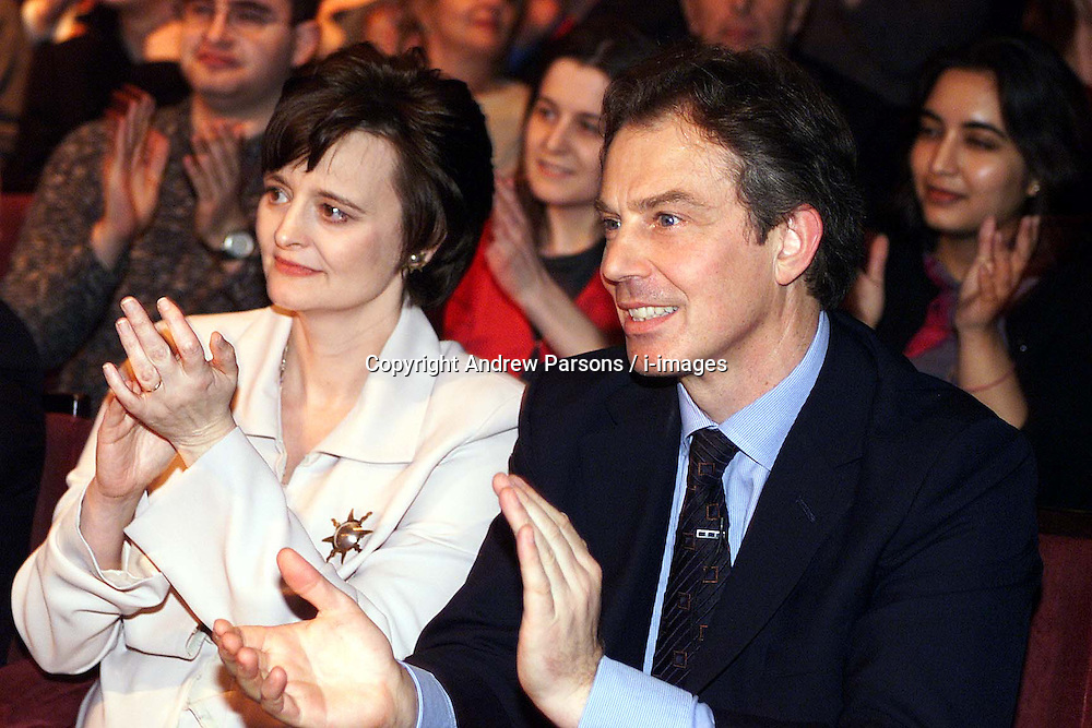 Labour Party's 100th birthday at the Old Vic theatre, London ..Cherie Blair with husband Tony after his speech , February 27, 2000. Photo by Andrew Parsons / i-images..