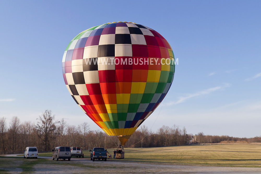 Middletown, New York - A hot air balloon gets ready to take off from Randall Airport on April 12, 2014.