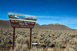 Bureau of Land Management boundary sign for the Black Rock Desert - High Rock Canyon Emigrant Trails National Conservation Area, Gerlach, Nevada.