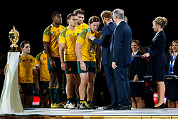 Australia Flanker Michael Hooper is presented with his runners up medal by Prince Harry after New Zealand win the match 34-17 to become 2015 World Cup Champions - Mandatory byline: Rogan Thomson/JMP - 07966 386802 - 31/10/2015 - RUGBY UNION - Twickenham Stadium - London, England - New Zealand v Australia - Rugby World Cup 2015 FINAL.