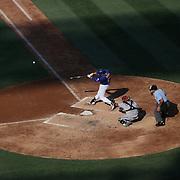Lucas Duda, New York Mets, hits a solo home run off off Arizona starter Patrick Corbin in the fifth inning during the New York Mets Vs Arizona Diamondbacks MLB regular season baseball game at Citi Field, Queens, New York. USA. 11th July 2015. Photo Tim Clayton