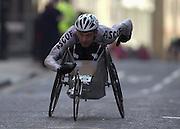 London Marathon, London, GREAT BRITAIN, location, Isle of Dogs. Wheel chair, .Narrow Street. E1. © Peter Spurrier/Intersport Image/+447973819551