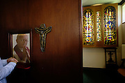 Confessional between penitent and priest at St. Lawrence's Catholic church in Feltham, London.