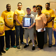BRONX, NY - 8/18/2018 - Marricka Scott McFadden, Bronx Deputy Borough President, poses with Bill Franklin of Samuel H. Young American Legion Post 620 and a group of Sailors from Navy Operational Support Center New York who cleaned up the post's yard on Saturday. The Sailors are participating in a Navy leadership training program called CPO365 as they prepare to promote to the rank of Chief Petty Officer.  (U.S. Navy Photo by Chief Mass Communication Specialist Roger S. Duncan / RELEASED )