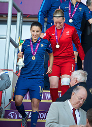 LLANELLI, WALES - Saturday, August 31, 2013: France's Ghoutia Karchouni with the trophy after beating England 2-0 during the Final of the UEFA Women's Under-19 Championship Wales 2013 tournament at Parc y Scarlets. (Pic by David Rawcliffe/Propaganda)